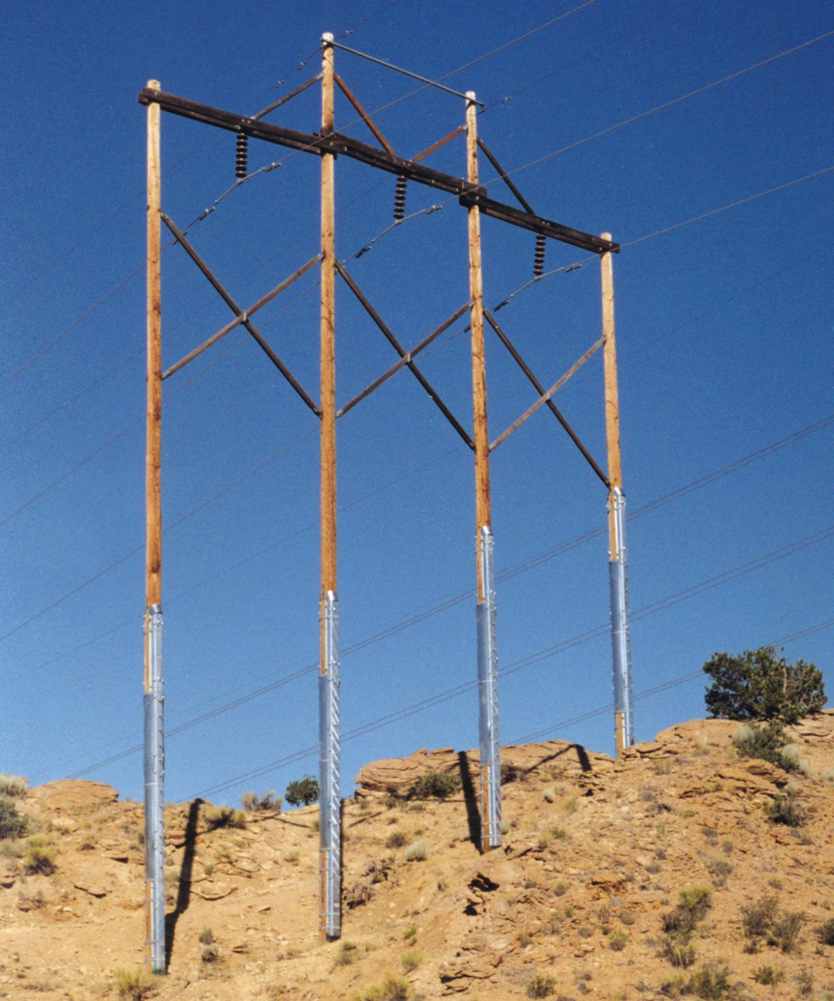 Wood Power Poles Sizes : Laminated wood systems rauckman hv sales electric mfg